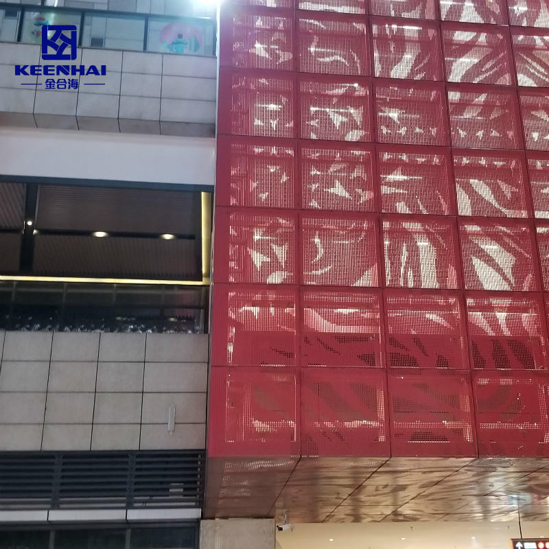 Red color laser cutting pattern facade aluminum single panel