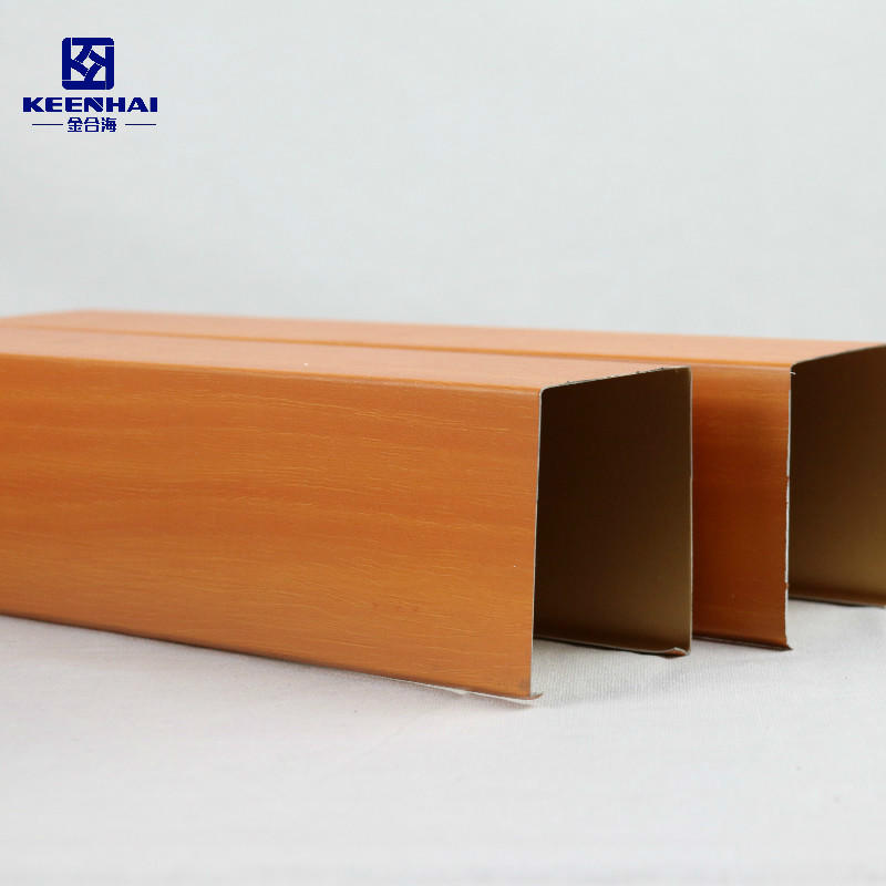 U shape Strip With Wooden Grain Pained Metal Ceiling