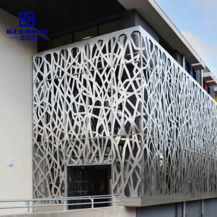 Custom Decorative Perforated Screen Metal Facade Curtain Wall Cladding