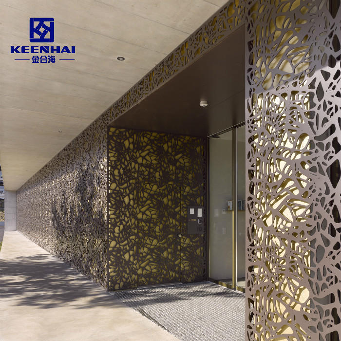 Custom Decorative Perforated Screen Metal Facade Curtain Wall Cladding