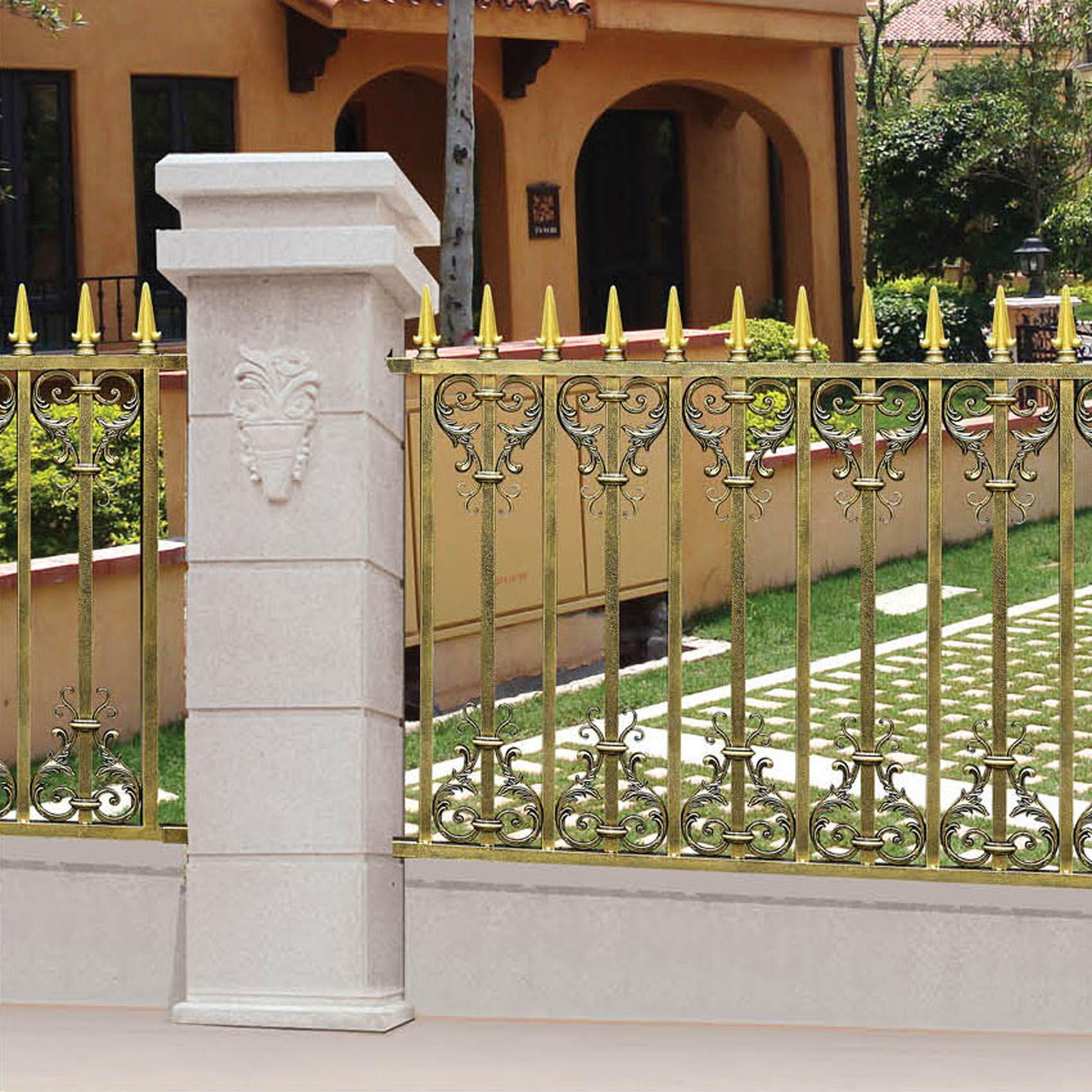 Aluminum Courtyard Customized Solid Metal Garden Fence